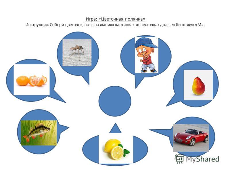 Игра: «Цветочная полянка» Инструкция: Собери цветочек, но в названиях картинках-лепесточках должен быть звук «М».