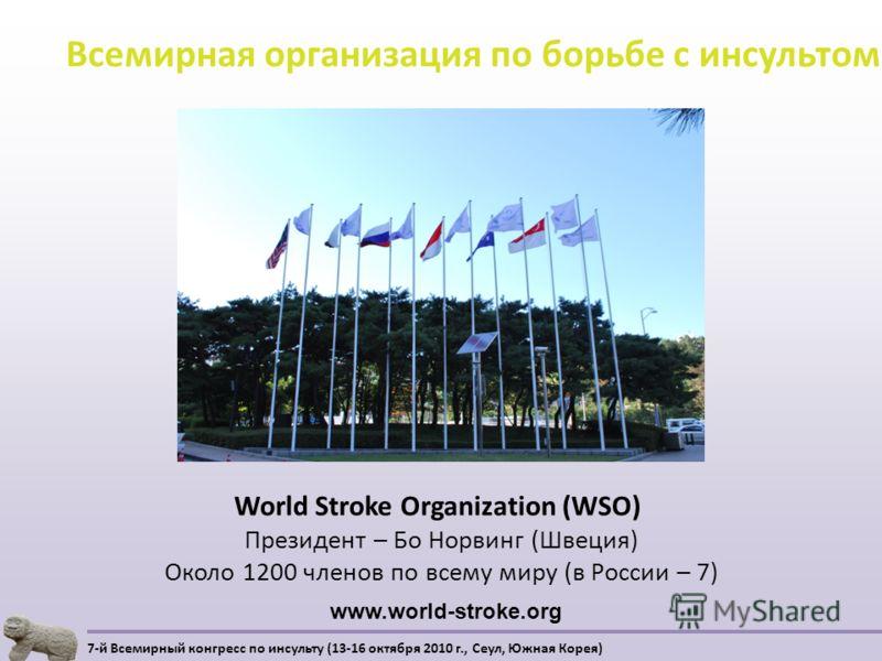 World Stroke Organization (WSO) Президент – Бо Норвинг (Швеция) Около 1200 членов по всему миру (в России – 7) Всемирная организация по борьбе с инсультом 7-й Всемирный конгресс по инсульту (13-16 октября 2010 г., Сеул, Южная Корея) www.world-stroke.
