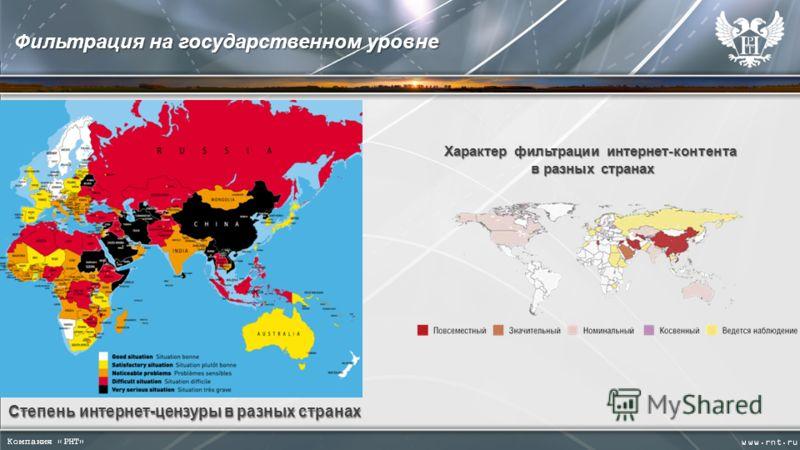 Фильтрация на государственном уровне Степень интернет-цензуры в разных странах Характер фильтрации интернет-контента в разных странах в разных странах