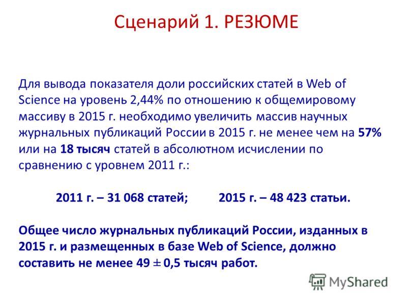 Сценарий 1. РЕЗЮМЕ Для вывода показателя доли российских статей в Web of Science на уровень 2,44% по отношению к общемировому массиву в 2015 г. необходимо увеличить массив научных журнальных публикаций России в 2015 г. не менее чем на 57% или на 18 т