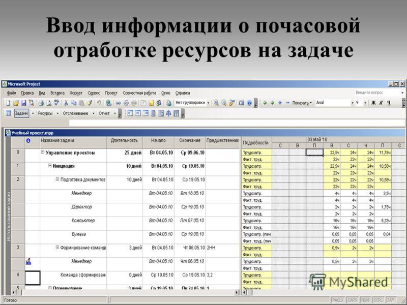 30 Ввод информации о почасовой отработке ресурсов на задаче