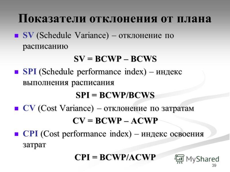 39 Показатели отклонения от плана (Schedule Variance) – отклонение по расписанию SV (Schedule Variance) – отклонение по расписанию SV = BCWP – BCWS (Schedule performance index) – индекс выполнения расписания SPI (Schedule performance index) – индекс
