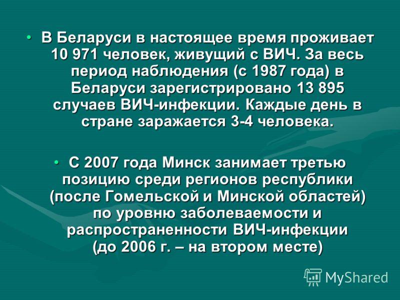 В Беларуси в настоящее время проживает 10 971 человек, живущий с ВИЧ. За весь период наблюдения (с 1987 года) в Беларуси зарегистрировано 13 895 случаев ВИЧ-инфекции. Каждые день в стране заражается 3-4 человека.В Беларуси в настоящее время проживает