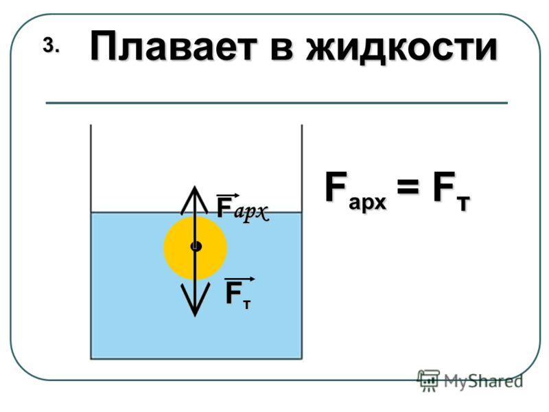 Плавает в жидкости 3.3.3.3. F арх = F т F арх F т F т