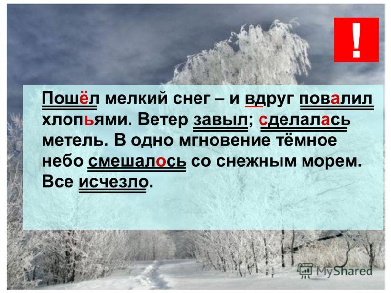 Пошёл мелкий снег – и вдруг повалил хлопьями. Ветер завыл; сделалась метель. В одно мгновение тёмное небо смешалось со снежным морем. Все исчезло. !