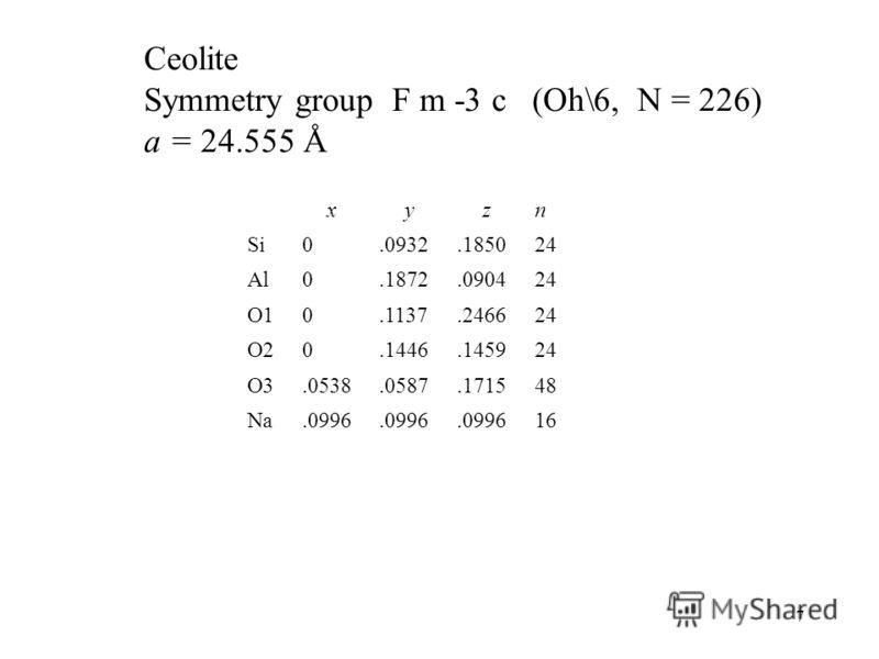 7 Ceolite Symmetry group F m -3 c (Oh\6, N = 226) a = 24.555 Å xyzn Si0.0932.185024 Al0.1872.090424 O1O10.1137.246624 O2O20.1446.145924 O3O3.0538.0587.171548 Na.0996 16