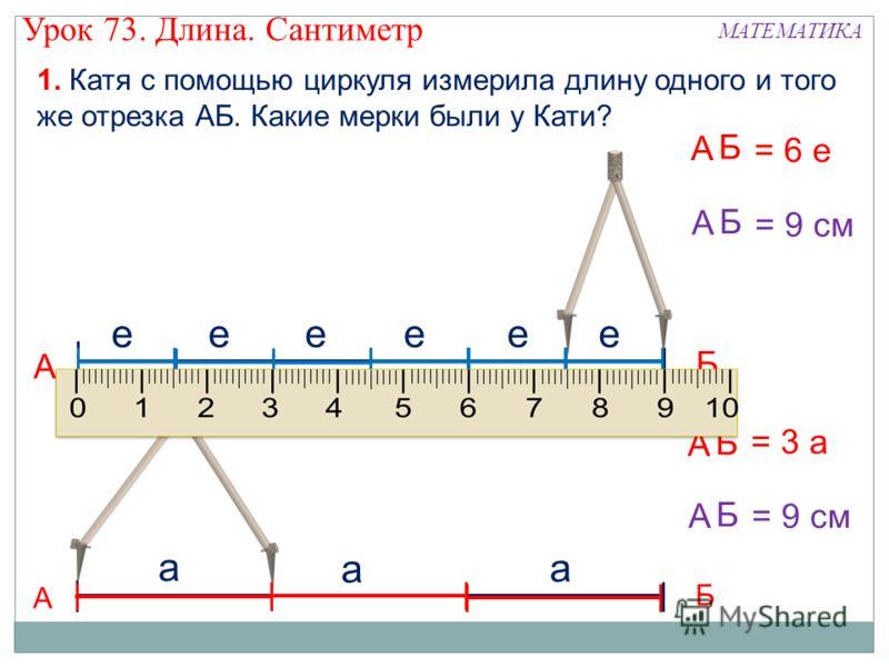 1. Катя с помощью циркуля измерила длину одного и того же отрезка АБ. Какие мерки были у Кати? А Б ееееее А Б = 6 е А Б а а а А Б = 3 а А Б = 9 см А Б Урок 73. Длина. Сантиметр МАТЕМАТИКА