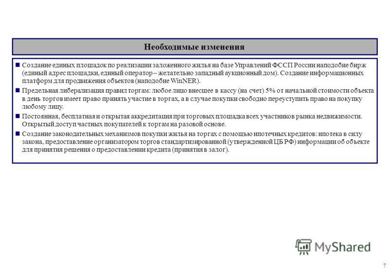 7 Создание единых площадок по реализации заложенного жилья на базе Управлений ФССП России наподобие бирж (единый адрес площадки, единый оператор – желательно западный аукционный дом). Создание информационных платформ для продвижения объектов (наподоб
