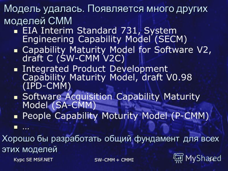 Курс SE MSF.NET SW-CMM + CMMI 14 Модель удалась. Появляется много других моделей CMM EIA Interim Standard 731, System Engineering Capability Model (SECM) Capability Maturity Model for Software V2, draft C (SW-CMM V2C) Integrated Product Development C