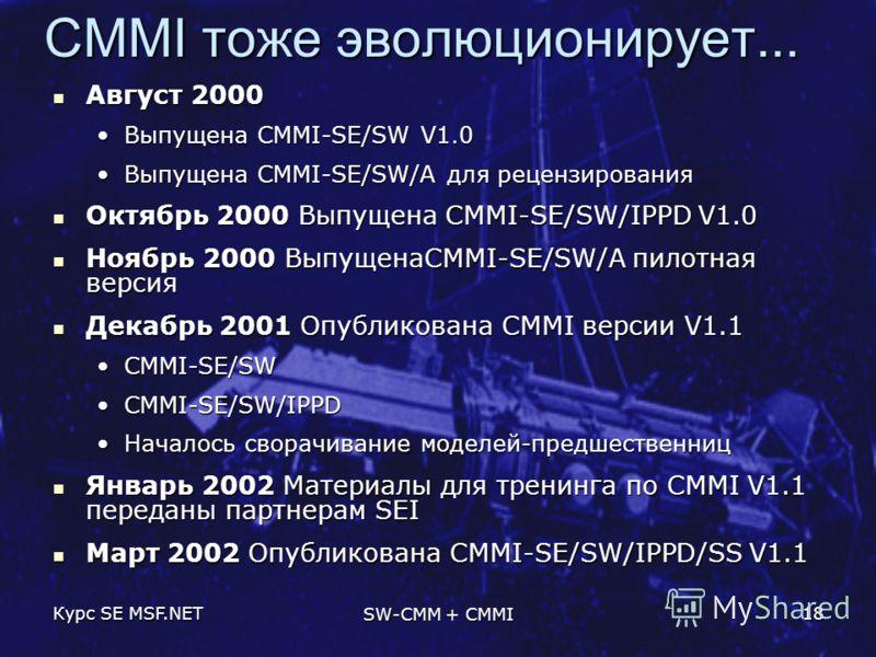 Курс SE MSF.NET SW-CMM + CMMI 18 CMMI тоже эволюционирует... Август 2000 Август 2000 Выпущена CMMI-SE/SW V1.0Выпущена CMMI-SE/SW V1.0 Выпущена CMMI-SE/SW/A для рецензированияВыпущена CMMI-SE/SW/A для рецензирования Октябрь 2000 Выпущена CMMI-SE/SW/IP