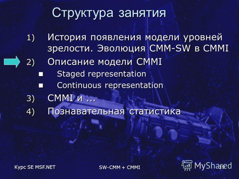 Курс SE MSF.NET SW-CMM + CMMI 19 Структура занятия 1) История появления модели уровней зрелости. Эволюция CMM-SW в CMMI 2) Описание модели CMMI Staged representation Staged representation Continuous representation Continuous representation 3) CMMI и.
