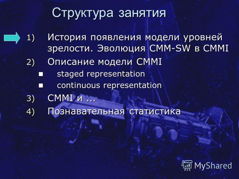 Структура занятия 1) История появления модели уровней зрелости. Эволюция CMM-SW в CMMI 2) Описание модели CMMI staged representation staged representation continuous representation continuous representation 3) CMMI и... 4) Познавательная статистика