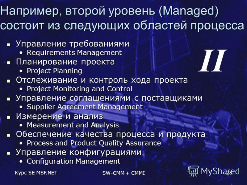 Курс SE MSF.NET SW-CMM + CMMI 28 Например, второй уровень (Managed) состоит из следующих областей процесса Управление требованиями Управление требованиями Requirements ManagementRequirements Management Планирование проекта Планирование проекта Projec