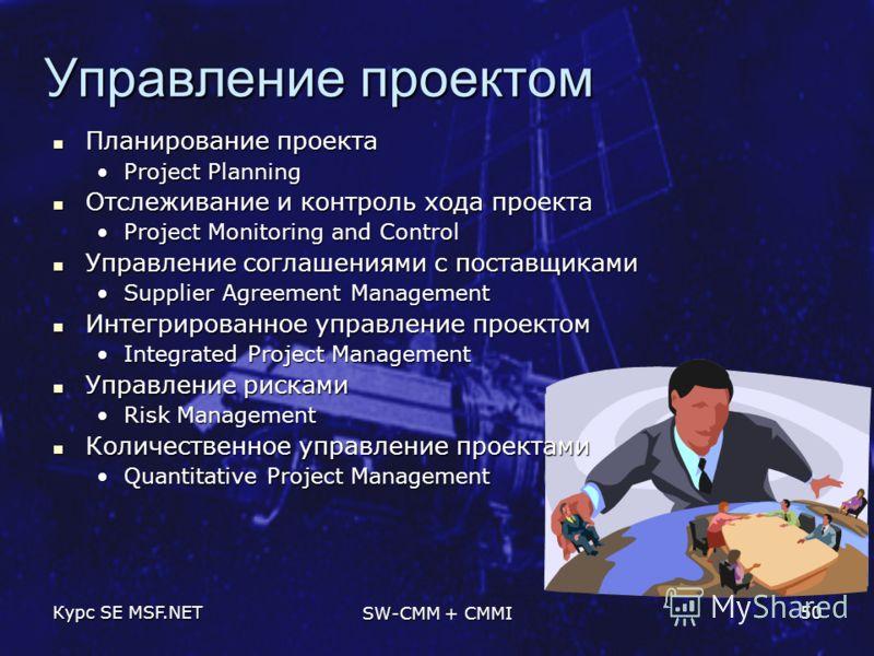 Курс SE MSF.NET SW-CMM + CMMI 50 Управление проектом Планирование проекта Планирование проекта Project PlanningProject Planning Отслеживание и контроль хода проекта Отслеживание и контроль хода проекта Project Monitoring and ControlProject Monitoring