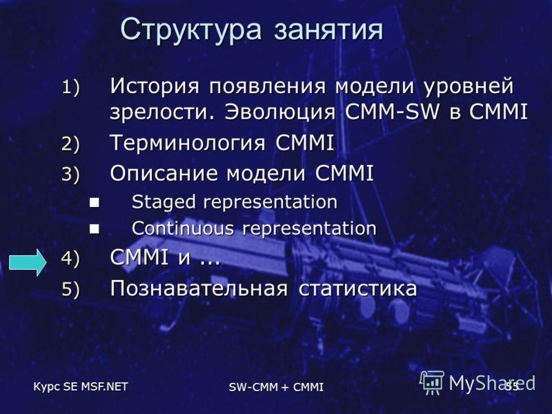 Курс SE MSF.NET SW-CMM + CMMI 55 Структура занятия 1) История появления модели уровней зрелости. Эволюция CMM-SW в CMMI 2) Терминология CMMI 3) Описание модели CMMI Staged representation Staged representation Continuous representation Continuous repr