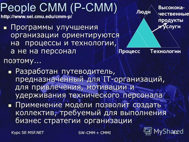 Курс SE MSF.NET SW-CMM + CMMI 62 People CMM (P-CMM) ПроцессТехнологии Люди Высокока- чественные продукты и услуги http://www.sei.cmu.edu/cmm-p/ Разработан путеводитель, предназначенный для IT-организаций, для привлечения, мотивации и удерживания техн