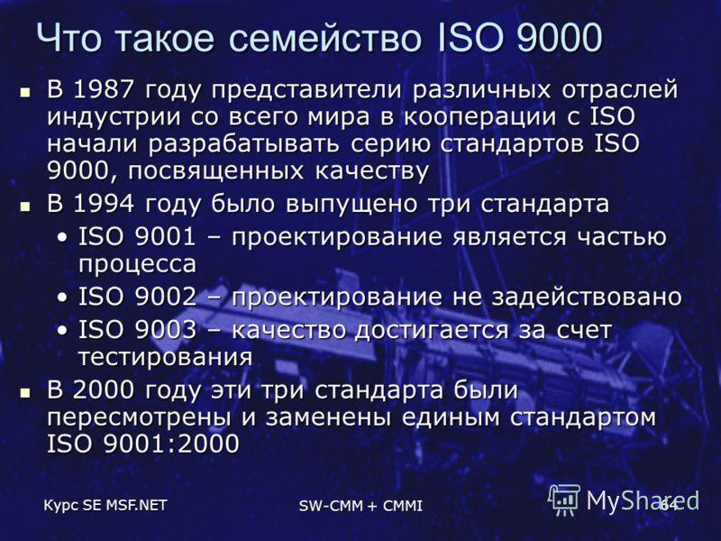 Курс SE MSF.NET SW-CMM + CMMI 64 Что такое семейство ISO 9000 В 1987 году представители различных отраслей индустрии со всего мира в кооперации с ISO начали разрабатывать серию стандартов ISO 9000, посвященных качеству В 1987 году представители разли