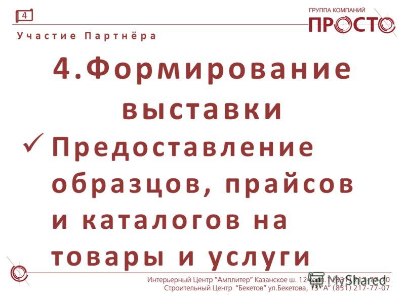 3.Партнёрский взнос Размер зависит от степени участия партнёра Участие Партнёра 3