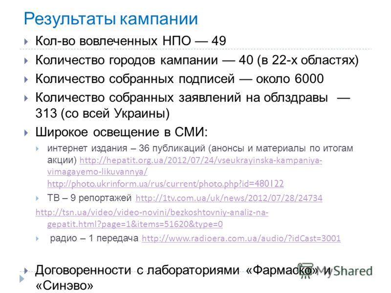 Результаты кампании Кол-во вовлеченных НПО 49 Количество городов кампании 40 (в 22-х областях) Количество собранных подписей около 6000 Количество собранных заявлений на облздравы 313 (со всей Украины) Широкое освещение в СМИ: интернет издания – 36 п