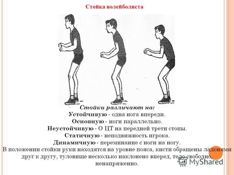 Стойки различают на: Устойчивую - одна нога впереди. Основную - ноги параллельно. Неустойчивую - О ЦТ на передней трети стопы. Статичную - неподвижность игрока. Динамичную - переминание с ноги на ногу. В положении стойки руки находятся на уровне пояс