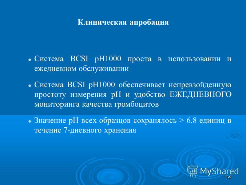14 Система BCSI pH1000 проста в использовании и ежедневном обслуживании Система BCSI pH1000 обеспечивает непревзойденную простоту измерения pH и удобство ЕЖЕДНЕВНОГО мониторинга качества тромбоцитов Значение pH всех образцов сохранялось > 6.8 единиц