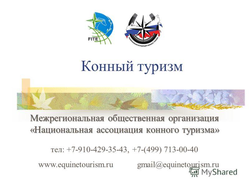 Конный туризм Межрегиональная общественная организация «Национальная ассоциация конного туризма» тел: +7-910-429-35-43, +7-(499) 713-00-40 www.equinetourism.ru gmail@equinetourism.ru