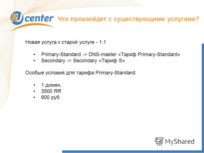 Что произойдет с существующими услугами? Новая услуга к старой услуге - 1:1 Primary-Standard -> DNS-master «Тариф Primary-Standard» Secondary -> Secondary «Тариф S» Особые условия для тарифа Primary-Standard: 1 домен, 3500 RR 600 руб.