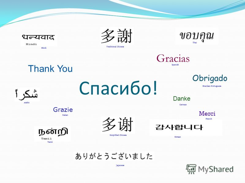 Thank You Merci Grazie Gracias Obrigado Danke Japanese French German Italian Spanish Brazilian Portuguese Arabic Traditional Chinese Simplified Chinese Hindi Tamil Thai Korean Спасибо!