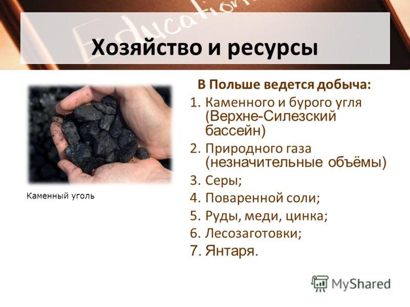 Хозяйство и ресурсы В Польше ведется добыча: 1.Каменного и бурого угля ( Верхне-Силезский бассейн) 2.Природного газа (незначительные объёмы) 3.Серы; 4