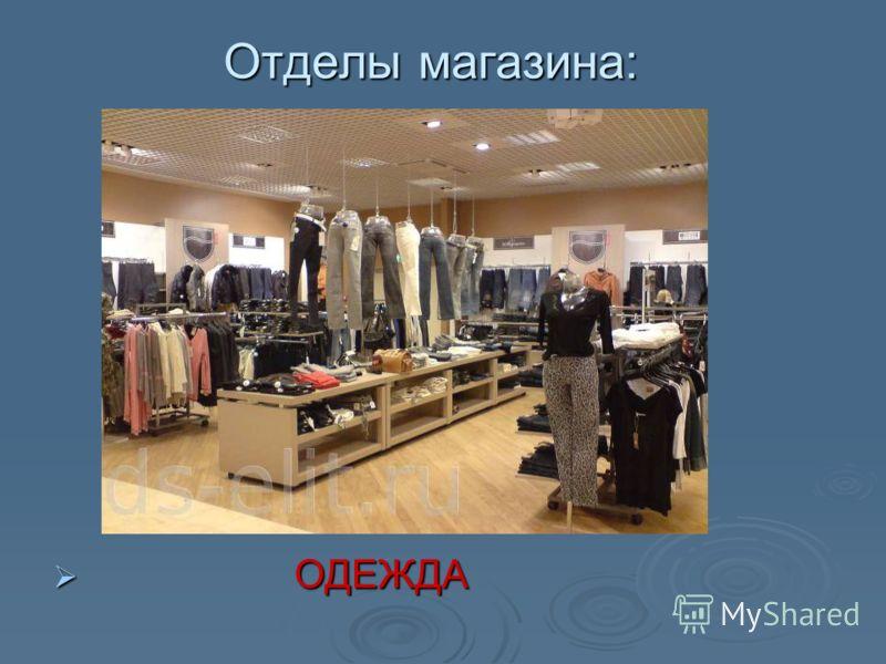 Отделы магазина: ОДЕЖДА ОДЕЖДА