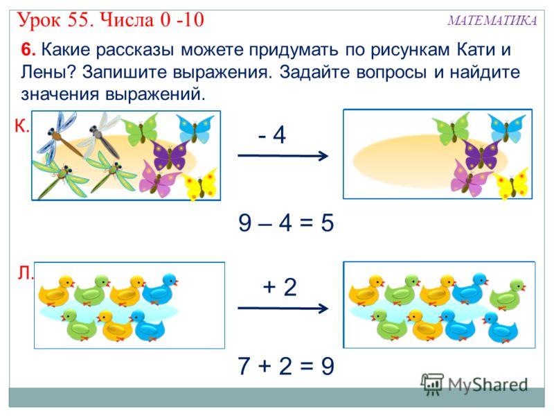 ? 6. Какие рассказы можете придумать по рисункам Кати и Лены? Запишите выражения. Задайте вопросы и найдите значения выражений. К. Л. 7 + 2 = 9 - 4 + 2 9 – 4 = 5 МАТЕМАТИКА Урок 55. Числа 0 -10