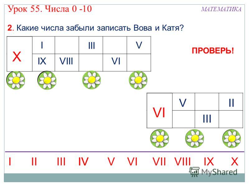 2. Какие числа забыли записать Вова и Катя? I IXX III VIIIVI V X II III VI V IIIIVVIIIXXIIIVVIIIVI IV ПРОВЕРЬ! МАТЕМАТИКА Урок 55. Числа 0 -10
