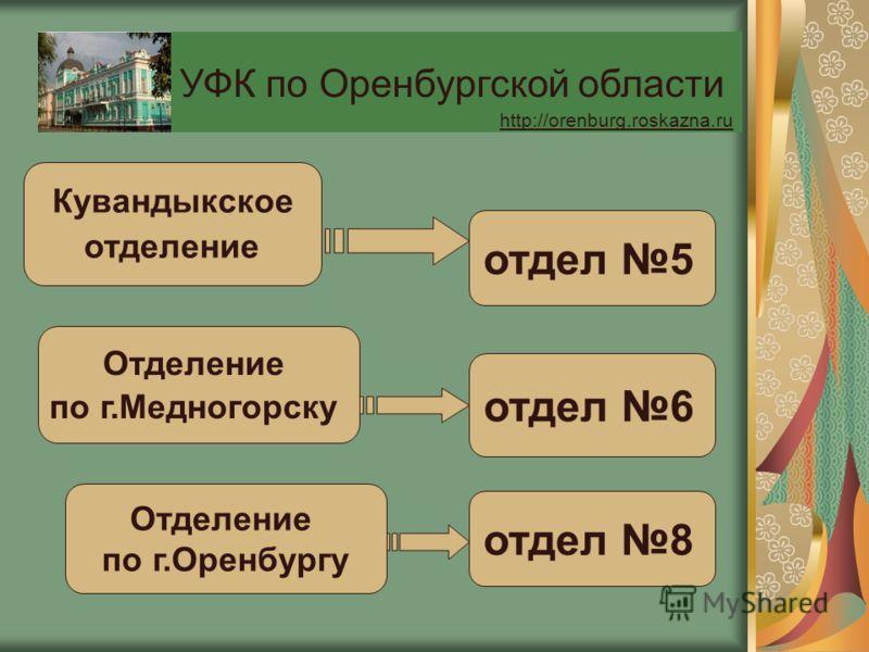 Кувандыкское отделение отдел 5 Отделение по г.Медногорску отдел 6 Отделение по г.Оренбургу отдел 8 УФК по Оренбургской области http://orenburg.roskazna.ru