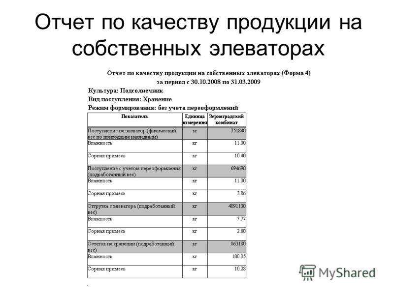 Отчет по качеству продукции на собственных элеваторах