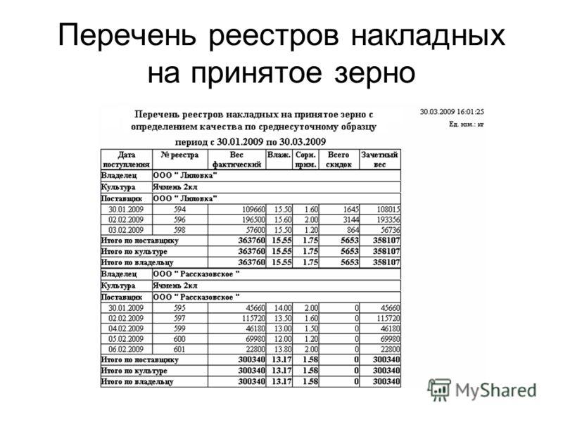 Перечень реестров накладных на принятое зерно