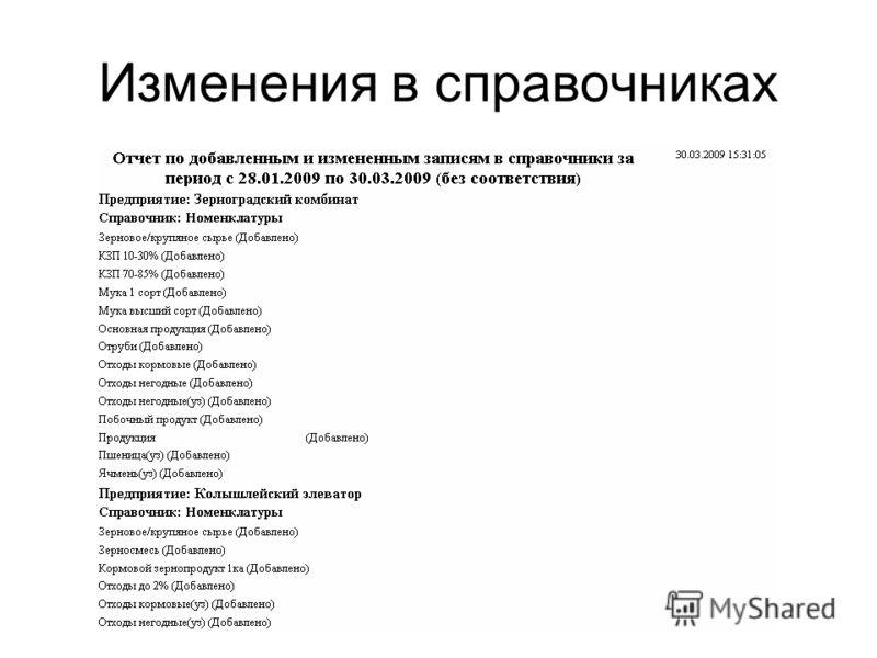 Изменения в справочниках