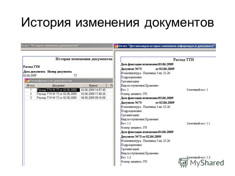 История изменения документов