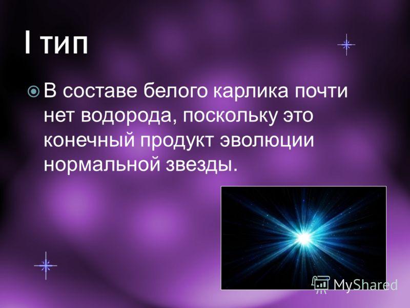 I тип В составе белого карлика почти нет водорода, поскольку это конечный продукт эволюции нормальной звезды.