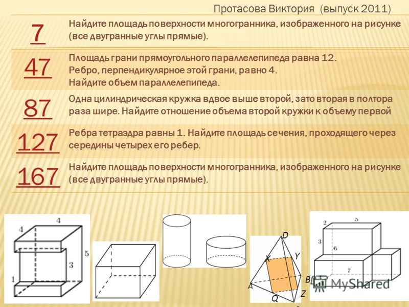 А С B D X Y Q Z Протасова Виктория (выпуск 2011) 7 Найдите площадь поверхности многогранника, изображенного на рисунке (все двугранные углы прямые). 47 Площадь грани прямоугольного параллелепипеда равна 12. Ребро, перпендикулярное этой грани, равно 4