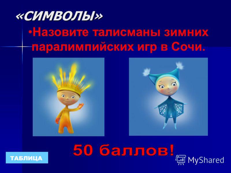 «СИМВОЛЫ» ТАБЛИЦА Назовите талисманы зимних олимпийских игр в Сочи.