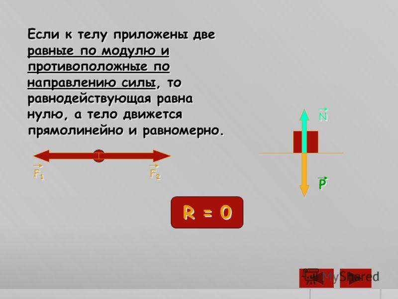 Если к телу приложены две равные по модулю и противоположные по направлению силы, то равнодействующая равна нулю, а тело движется прямолинейно и равномерно. F1F1 F1F1 F2F2 F2F2 R = 0 P P N N