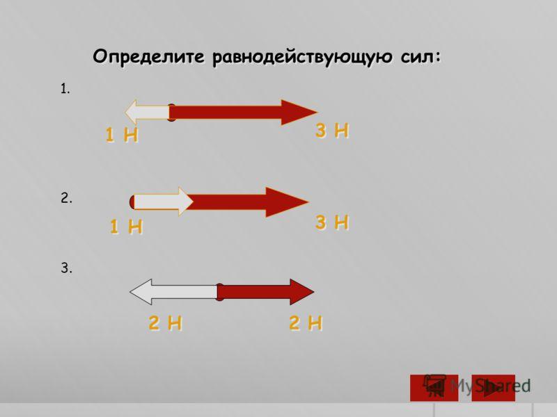 Определите равнодействующую сил: 1. 1 Н 3 Н 2. 1 Н 3 Н 3. 2 Н