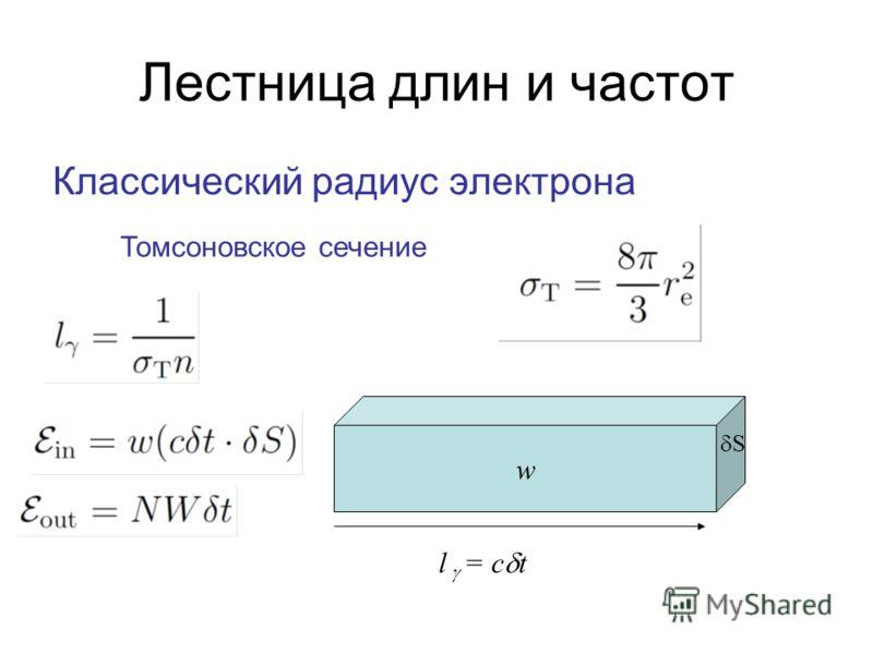Лестница длин и частот Классический радиус электрона Томсоновское сечение w S l = c t