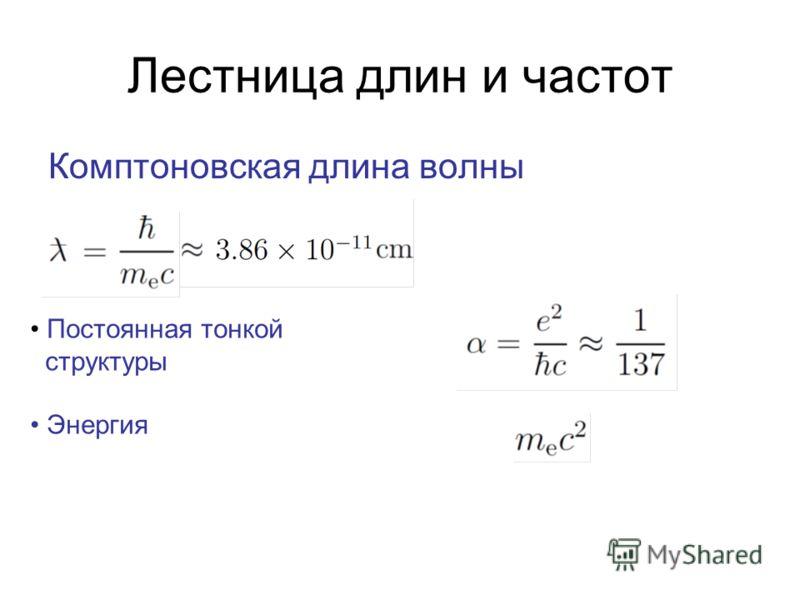 Лестница длин и частот Комптоновская длина волны Постоянная тонкой структуры Энергия