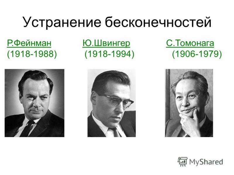 Устранение бесконечностей Р.Фейнман Ю.Швингер С.Томонага (1918-1988) (1918-1994) (1906-1979)