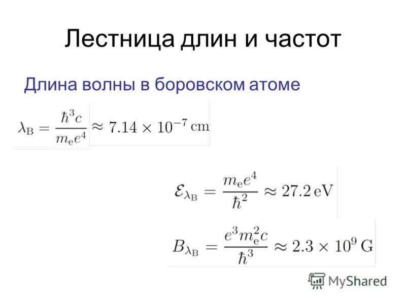 Лестница длин и частот Длина волны в боровском атоме