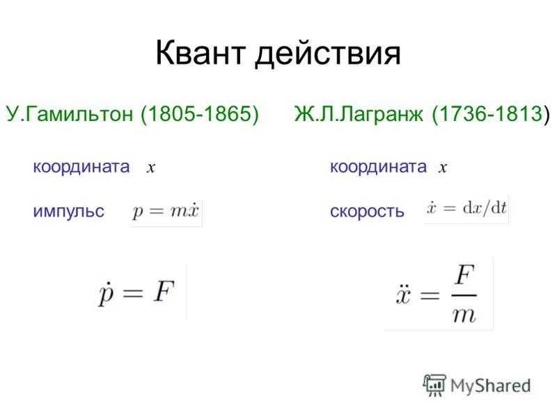 Квант действия У.Гамильтон (1805-1865) Ж.Л.Лагранж (1736-1813) координата x импульс скорость