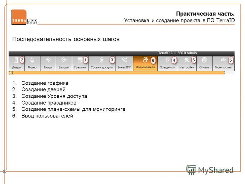 Практическая часть. Установка и создание проекта в ПО TerraID 1.Создание графика 2.Создание дверей 3.Создание Уровня доступа 4.Создание праздников 5.Создание плана-схемы для мониторинга 6.Ввод пользователей Последовательность основных шагов