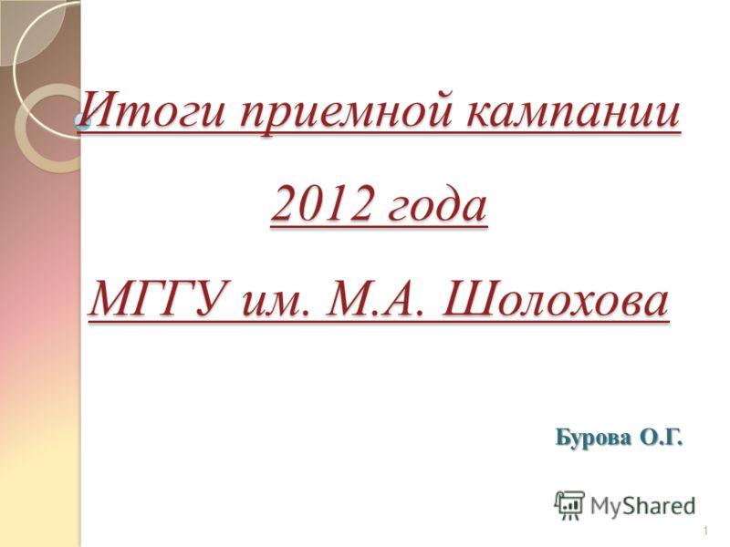 Итоги приемной кампании 2012 года МГГУ им. М.А. Шолохова 1 Бурова О.Г.