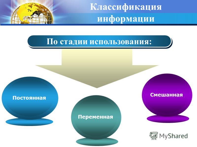 Классификация информации По стадии использования: Смешанная Переменная Постоянная
